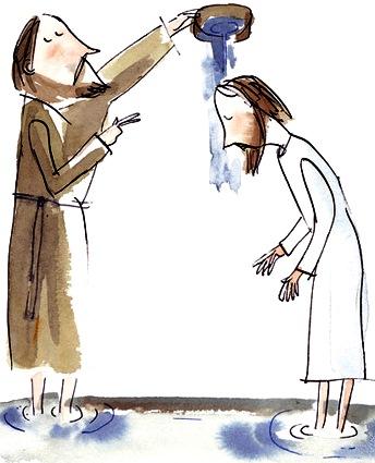 Dibujo del Bautismo de Jesús a colores