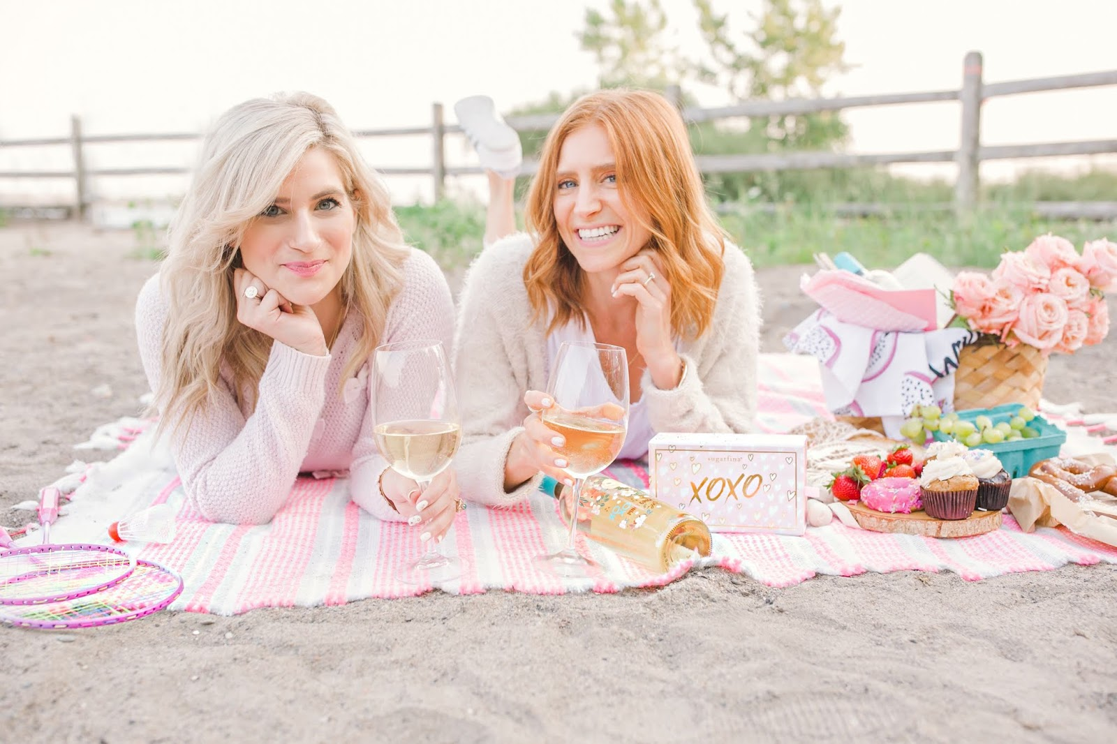 How to Have the Perfect Self-Care Day with XOXO Wines - Colourful, pink beach picnic with bestie