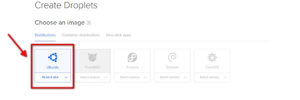 Selecione Droplet Ubuntu