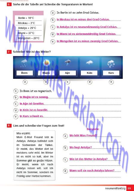 Almanca A1.2 Çıpa Yayınları Çalışma Kitabı Cevapları Sayfa 59