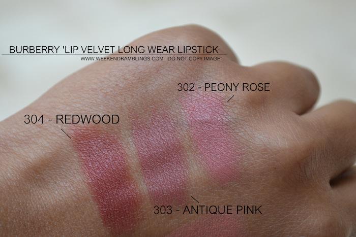 Burberry beauty makeup matte lip velvet lon wear lipstick darker indian skin blog swatches 304 rosewood 303 antique pink 302 peony rose