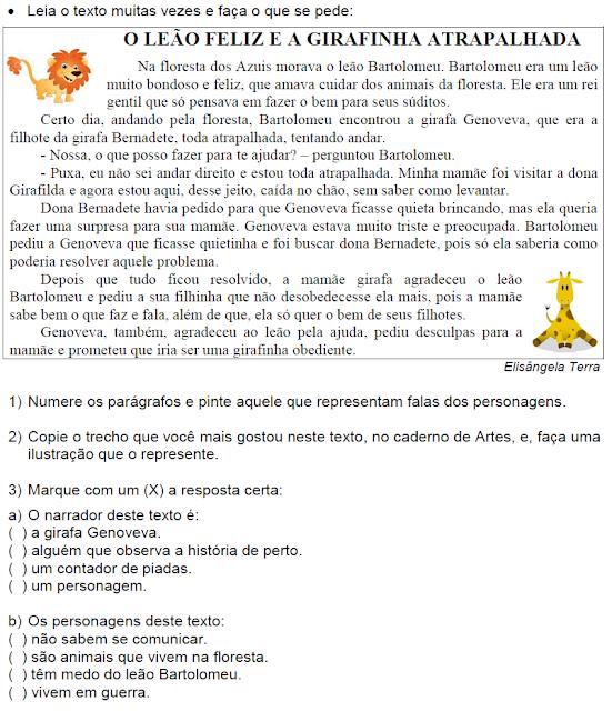 Texto O LEÃO FELIZ E A GIRAFINHA ATRAPALHADA, de Elisângela Terra
