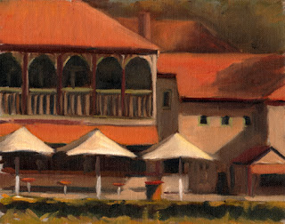 Oil painting of a Victorian-era double-storey boathouse with café umbrellas and tables in the foreground.