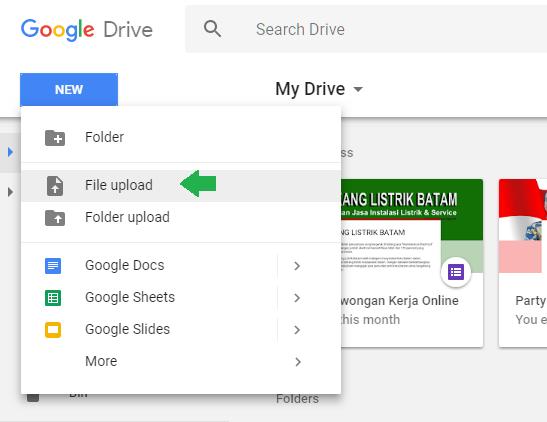 Cara upload file ke google drive - langkah 2