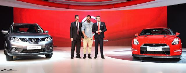 John Abraham with Guillaume Sicar & Arun Malhotra at Auto Expo 2016