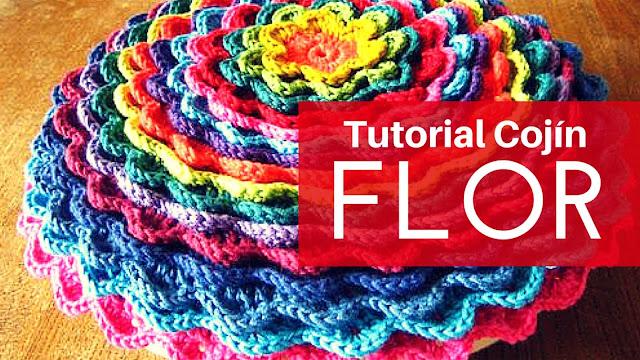 Tutorial #34: DIY Cojín Flor Floreciente a Crochet