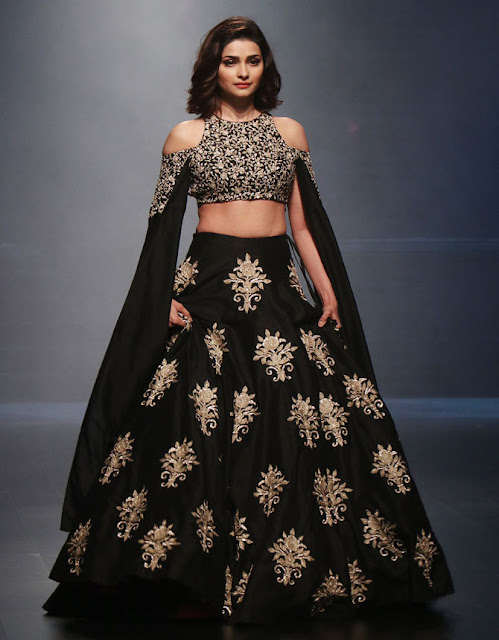 Prachi Opened the Show in Charcoal Black,Golden Embroidered Lehenga Choli
