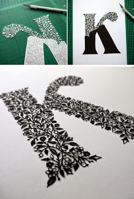 La letra K impresionantemente cortada a mano