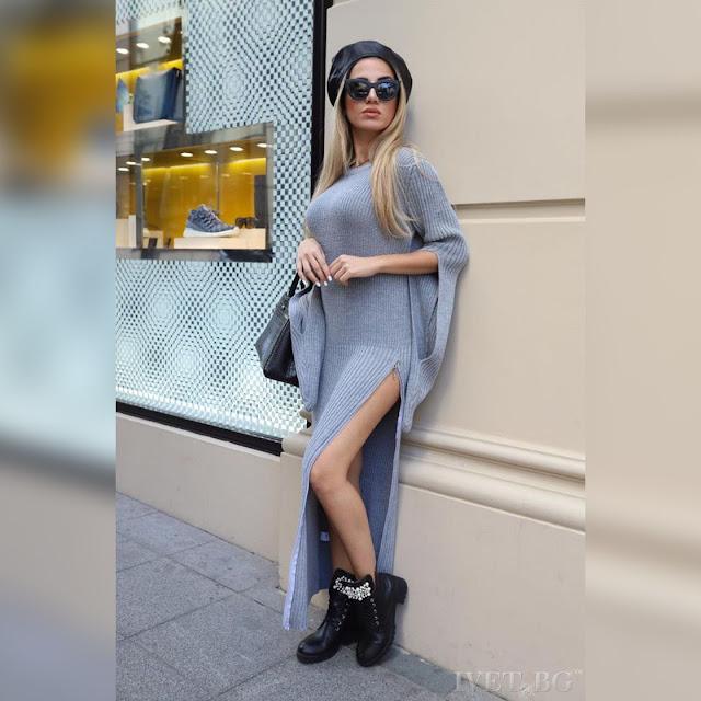 Μακρυμάνικο πλεκτό μάξι γκρι φόρεμα KATARA GREY