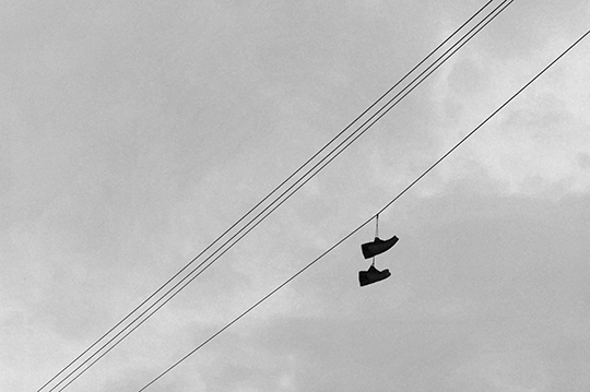 black and white photography, contemporary, art, Sam Freek, artist, photographer, Two Shoes on a Wire,