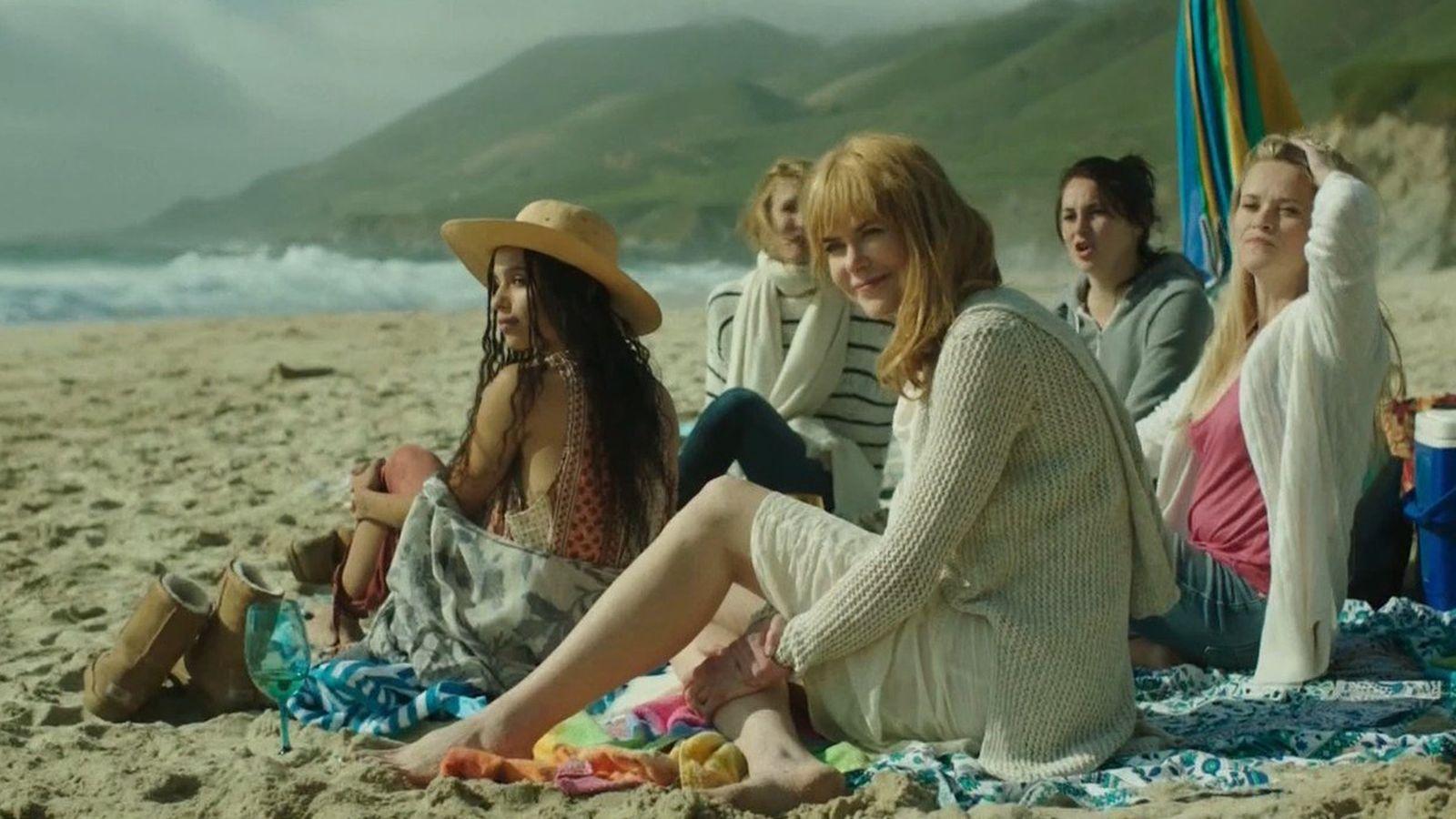 Nicole Kidman, Reese Witherspoon, Laura Dern, Shailene Woodley y Zöe Kravitz en Big Little Lies
