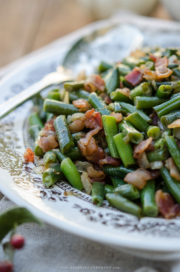 Closeup of Green Beans with Bacon