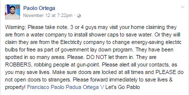 ATTENTION: Robbers Pretend To Be Utility Men Sent By LGUs. DO NOT LET THEM IN!
