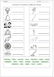Hipótese de Escrita Silábica Alfabética - Pesquise e escreva o nome da figura