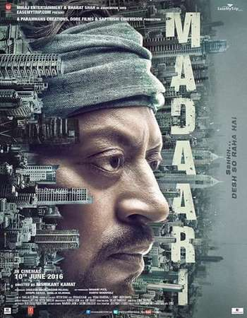 Poster Of Madaari 2016 Hindi 550MB DVDRip 720p ESubs HEVC Watch Online Free Download downloadhub.net
