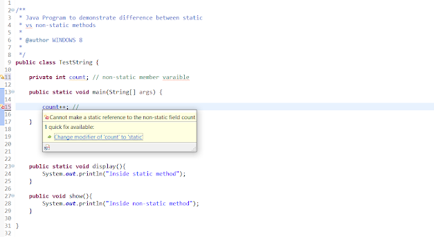 difference between static and non-static method in Java