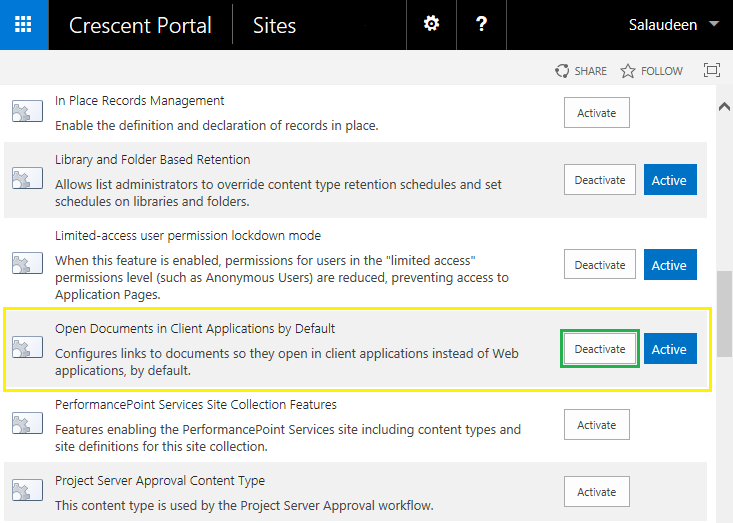 sharepoint deactivate feature all sites