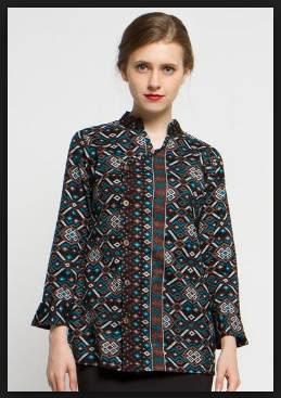Model baju batik wanita atasan gamis kombinasi