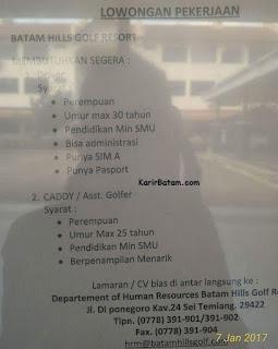 Lowongan Kerja Batam Hills Golf Resort