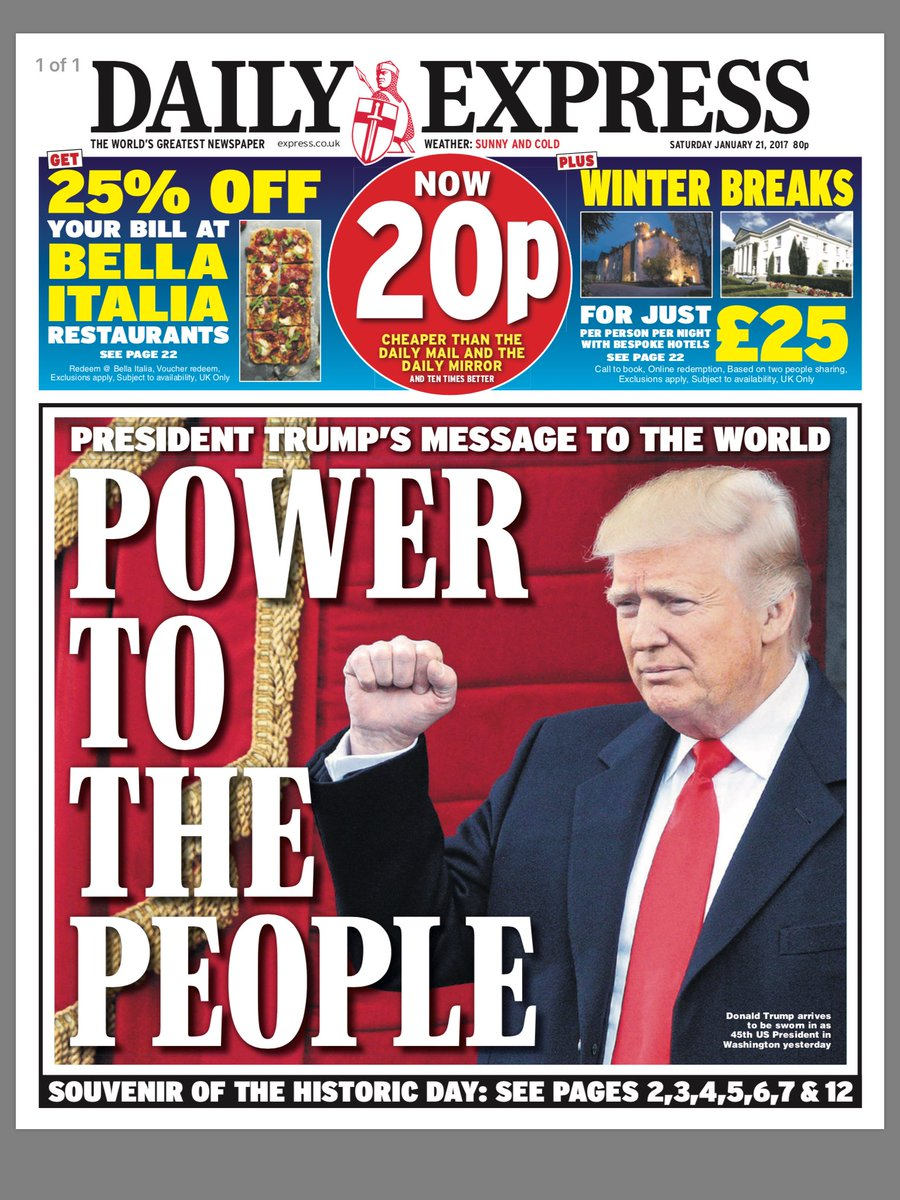 Sands Media Services: What the papers made of Trump's ... Daily Express