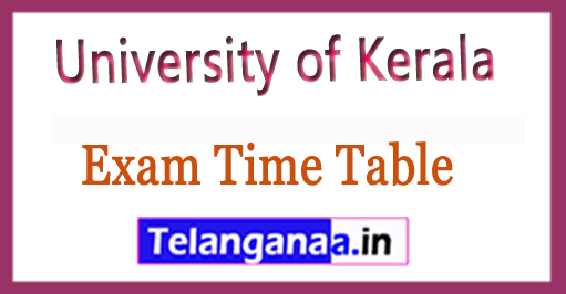 University of Kerala MCA Degree Practical 5th Sem  2018 Exam Time Table
