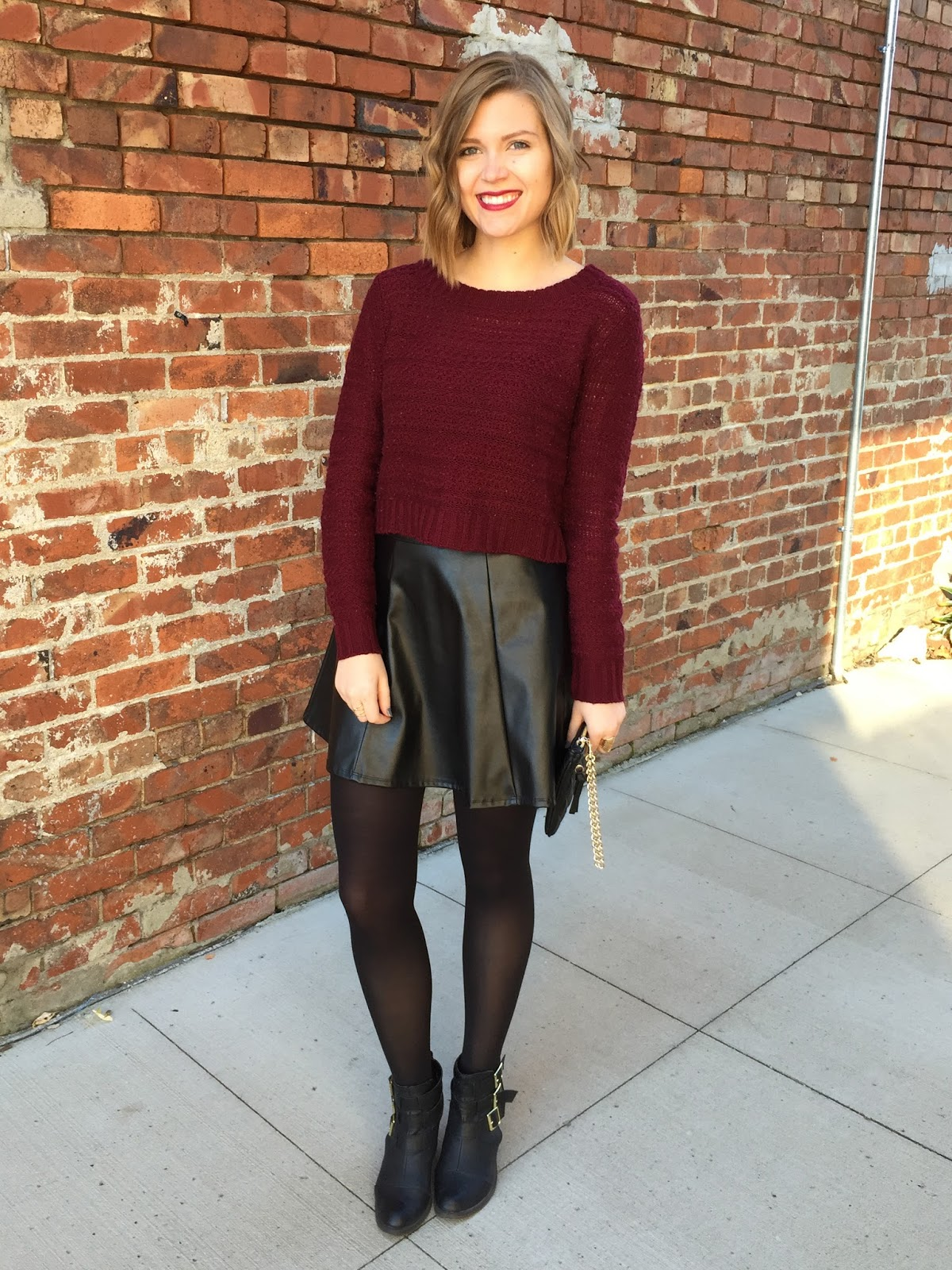 leather skirt with sweater  fashion skirts