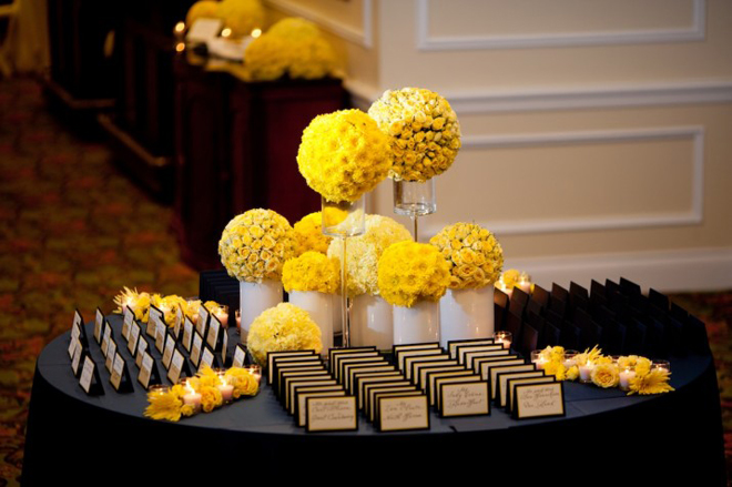 Escort Cards Table : Floral Arrangements and Decor - Belle ... |Flowers For Wedding Place Card