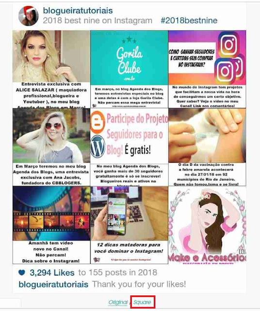 Instagram: Retrospectiva do perfil blogueiratutoriais