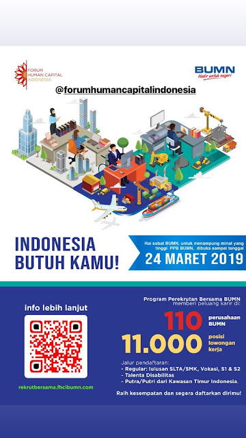 Program Perekrutan Bersama BUMN (Terbuka Bagi SLTA/SMK, Vokasi, S1,S2, Disabilitas & Putra/Putri Kawasan Indonesia Timur) - 11.000 Posisi Lowongan Kerja (Deadline : 24 Maret 2019)
