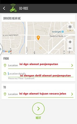 Cara Memesan/order Layanan Gojek di Android
