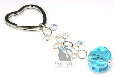 Crystal Pearl Something Blue Bridal Heart Beaded Keychain (K108)