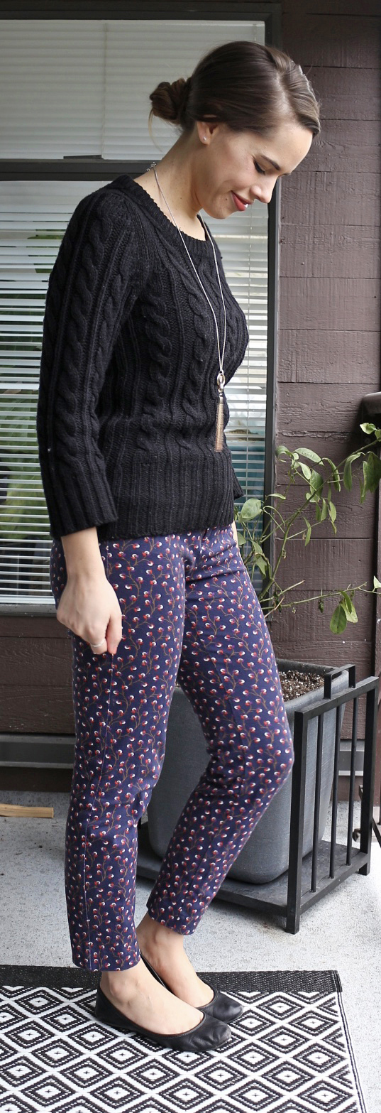 Jules in Flats - Joe Fresh Cable Knit Sweater, Old Navy Pixie Pants