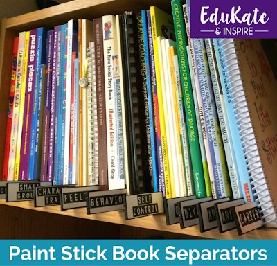 Paint Stick Book Separators for Counseling Library