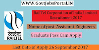 RailTel Corporation of India Limited Recruitment 2017– 86 Assistant Engineers, Assistant General Manager