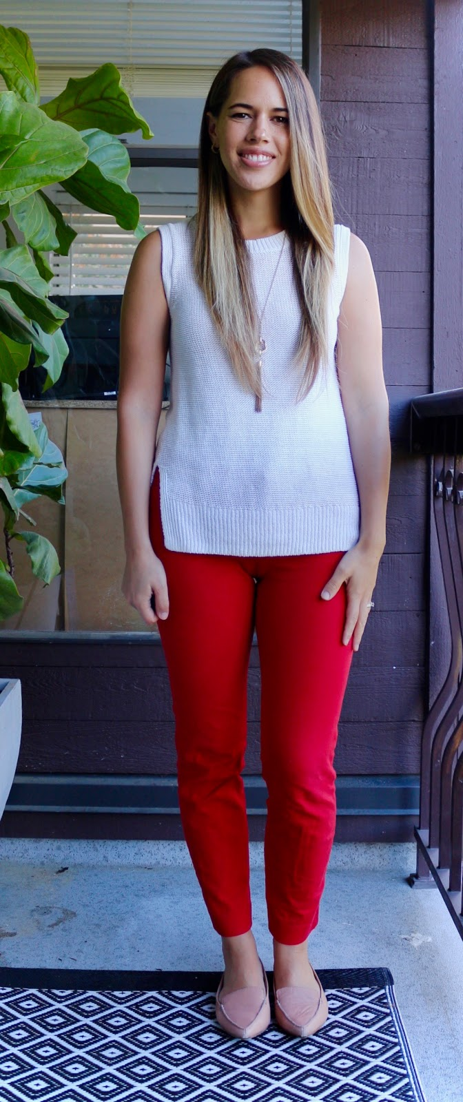 Jules in Flats - Sleeveless Knit Tunic with Red Pants
