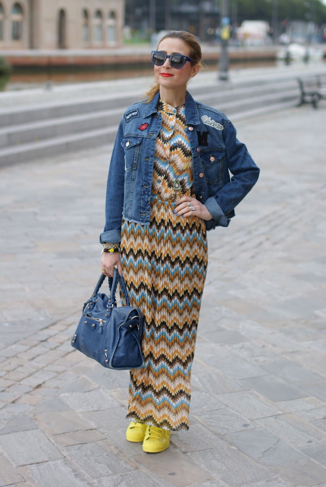 Pleated maxi dress and denim patched jacket on Fashion and Cookies fashion blog, fashion blogger style