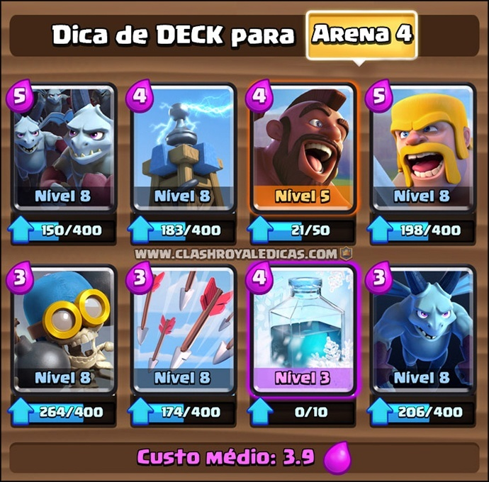 Deck para Arena 4 em Clash Royale