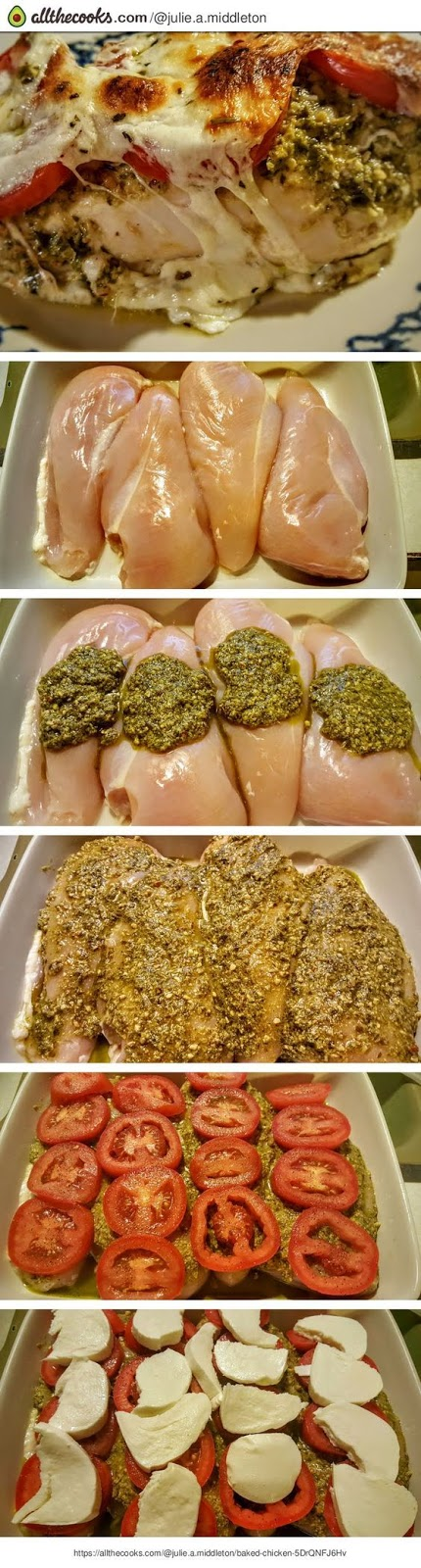 Pesto, Tomato, & Mozzarella Baked Chicken