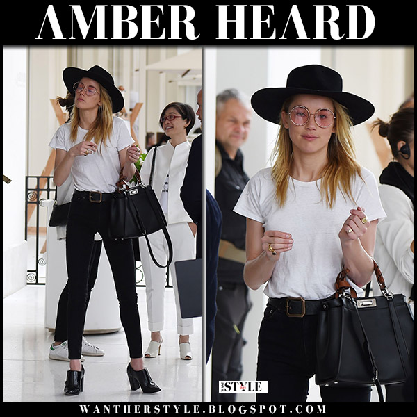 Amber Heard in white tee, skinny jeans and black booties cannes fashion may 13
