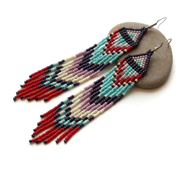 купить длинные этно серьги из бисера  купить в интернет магазине украшений ручной работы