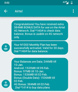 How to activate Airtel 4GB data bonus and 9GB data on 4G sim for N1000 On Airtel