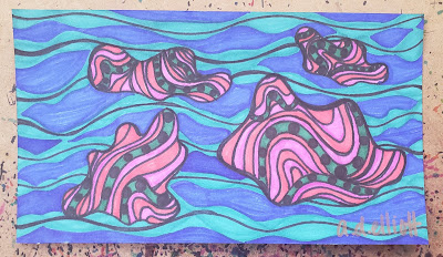 A pen and ink doodle meditation in pinks, greens, and blues and a recipe for Almond Butter Cups