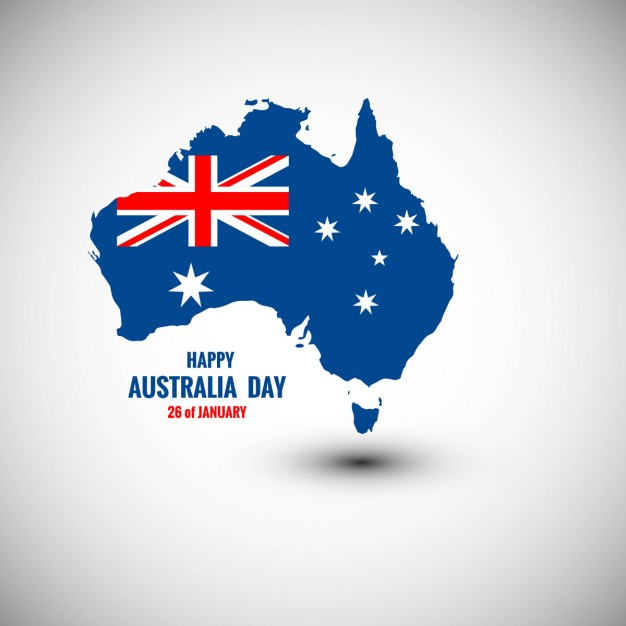 Happy Australia Day card with map Free Vector