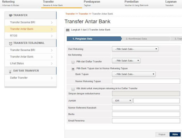 Cara Transfer Dari BRI ke Bank Lain Via Internet Banking
