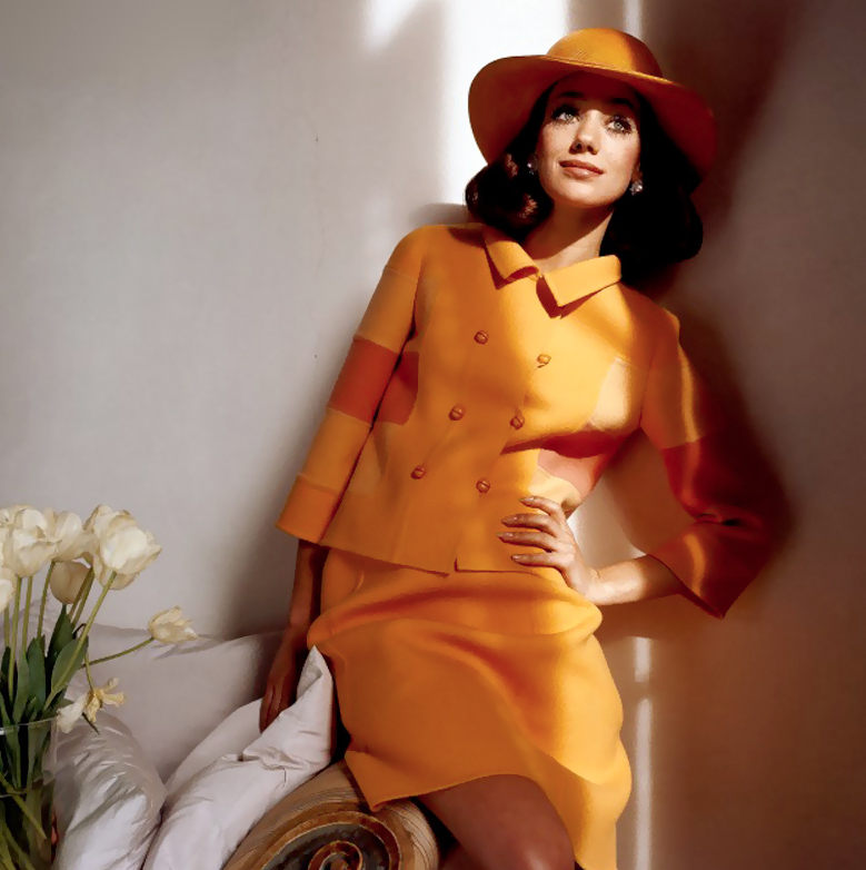 Marisa Berenson wearing Mila Schon photographed by Henry Clarke for Vogue 1968
