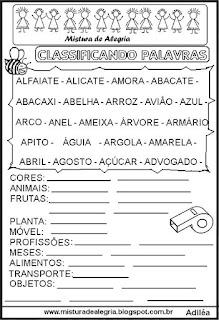 Classificar palavras com letra A