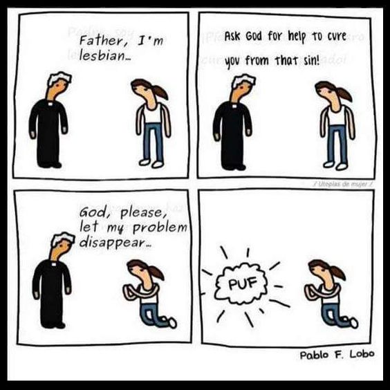 God, Let My Problem Disappear funny religious cartoon picture