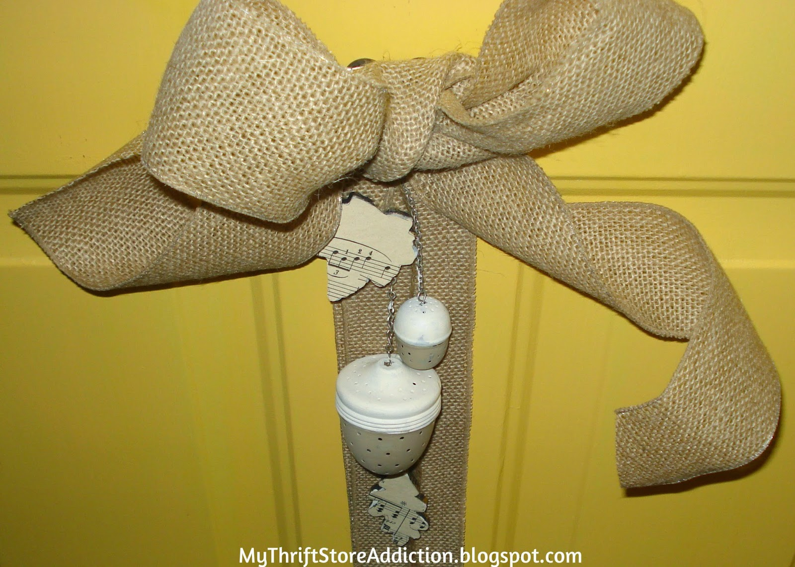 Repurposed Tea Infuser Acorn Door Hanger