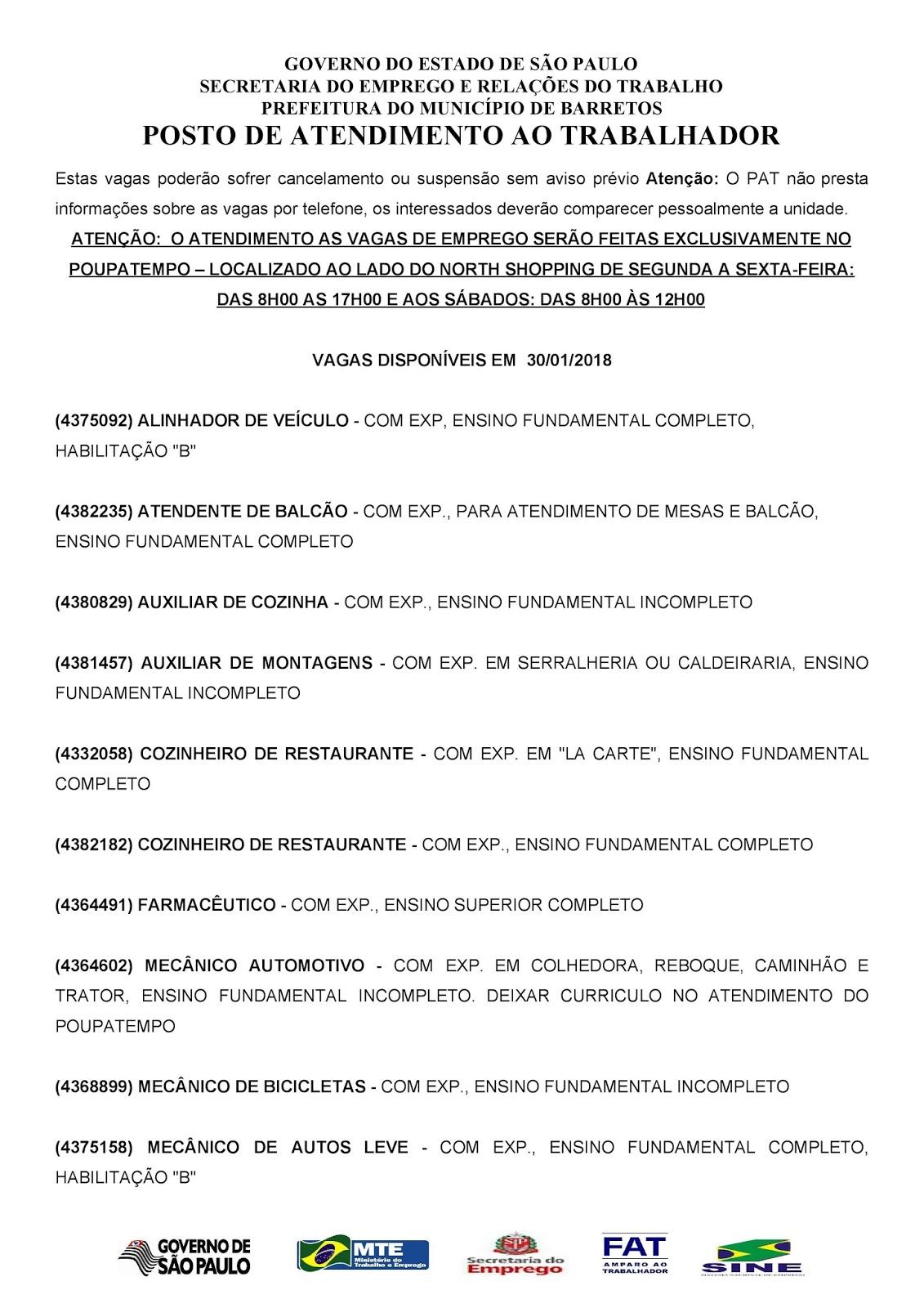 VAGAS DE EMPREGO DO PAT BARRETOS-SP PARA 30/01/2018 TERÇA-FEIRA - Pag.1