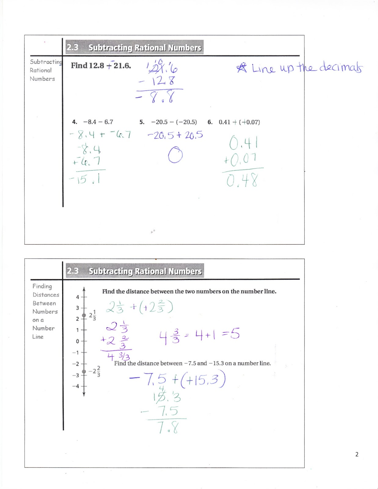 Ms Jean S Classroom Blog Math 7 2 3 Subtracting Rational Numbers